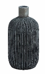 Zak Black Ribbed Vase
