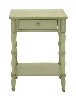 Dhani Green Polished Wood Side Table