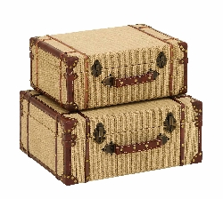 Burlap Suitcase Set 2