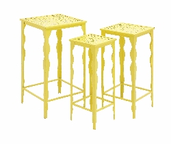 Odetta Funky Yellow Metal Plant Stand Set/3