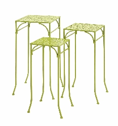 Mayisyan Green Polished Metal Plant Stand
