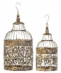 Cleo Antiqued Bird Cage Set 2