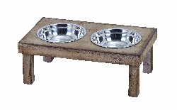 Seren Wood Double Bowl Pet Feeder
