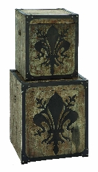 Taj French Fleur-De-Lis Storage Box Set 2