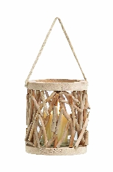 Rider Drift Wood Encased Candle Lantern