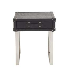 Wanli Stainless Steel Wood & Leather Side Table