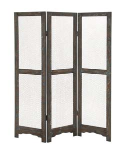 Maisone Wood & Metal 3 Panel Screen