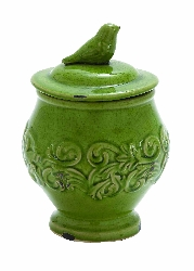 Buddy Green Ceramic Jar With Bird Lid