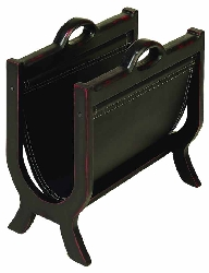 Annette Wood & Leather Magazine Holder