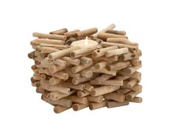 Tuscia Driftwood & Glass Candle Holder