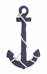 Tegh Navy Wood & Rope Wall Anchor