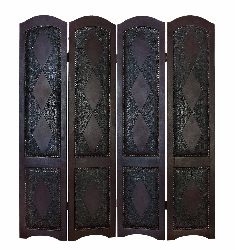 Zaidyn Wood & Leather 4 Panel Room Divider