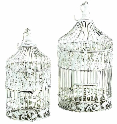 Ece Bird Cage Set 2 Shabby Chic White