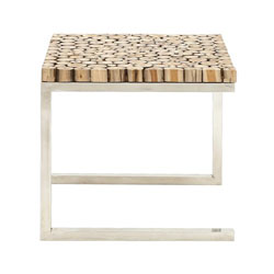 Plaut Stainless Steel Teak Wood Side Table