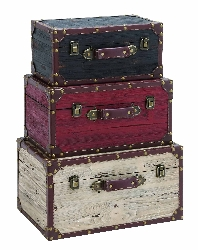 Darins Multicolor Wood Trunk Set 3