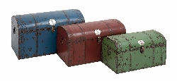 Abomey Domed Metal Trunks Set/3