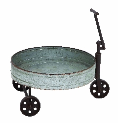 Storm Tin Barrel Cart With Iron Handle & Wheels