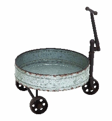 Gaia Vintage Barrel Cart With Iron Handle & Wheels