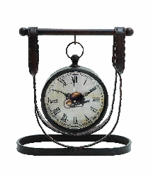 Aleigha Western Leather Strap Table Clock