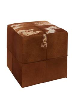 Bortoli Wood & Leather Square Ottoman