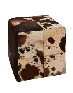 Tahbilk Wood & Leather Square Ottoman