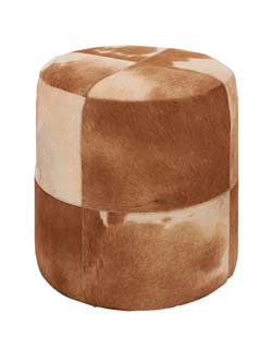 Branaire Wood & Leather Brown Round Ottoman