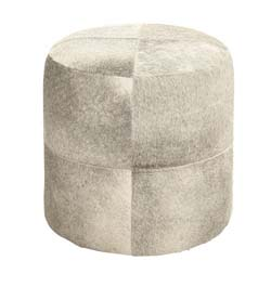 Camensac White Wood & Leather Ottoman