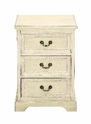 Ajani 3 Drawer White Wood Night Stand