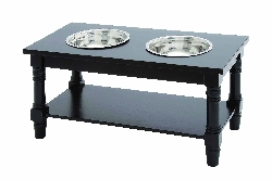 Aadit Black Double Bowl Pet Feeder