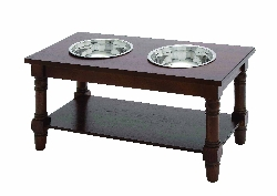 Jojo Brown Double Bowl Pet Feeder