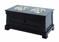 Juanita Black Double Bowl Pet Feeder with Storage