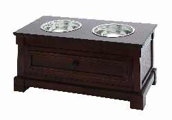 Aariv Brown Double Bowl Pet Feeder with Storage