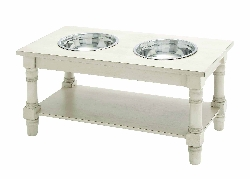 Ami White Double Bowl Pet Feeder