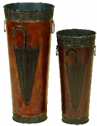 Alaysia Embossed Copper Umbrella Stand Set 2