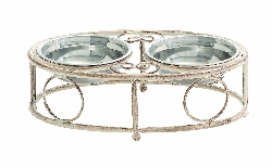 Hiba Shabby Double Bowl Pet Feeder