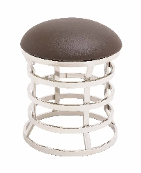 Harith Stainless Steel & Leather Ottoman