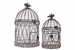 Marina Round Metal Bird Cage Set/2