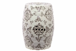 Acacia Ceramic White & Brown Garden Stool