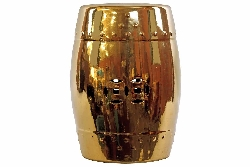 Acantha Golden Ceramic Garden Stool