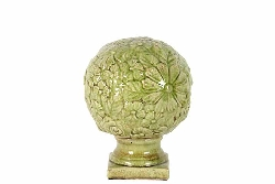 Cobbtown Green Floral Small Finial Globe