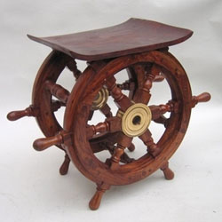 Danae Ship's Wheel 18 Inch Wood Table