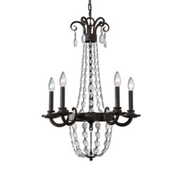 Uttermost Icelandia 5 Light Textured Black Chandelier