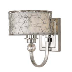 Uttermost 22484 Brandon 1 Light Nickel Plated Wall Sconce