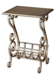 Uttermost 26117 Lilah Silver Leaf Magazine Table