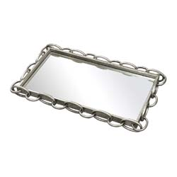 Erin-Chain Edged Mirrored Tray