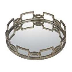 Dari Iron Scroll Mirrored Tray