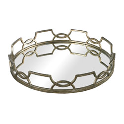 Deni Iron Scroll Mirrored Tray