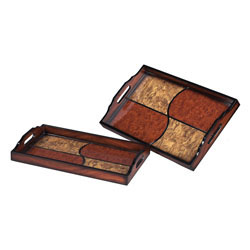 Set Of 2 Quartered Trays