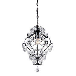 Black Framed And Clear Crystal Mini Pendant Lamp