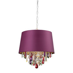 Purple Drum Pendant Light With Crystal Drops
